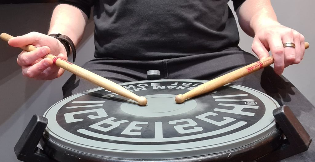 Holding Drumsticks Traditional grip on Gretsch Practice Pad