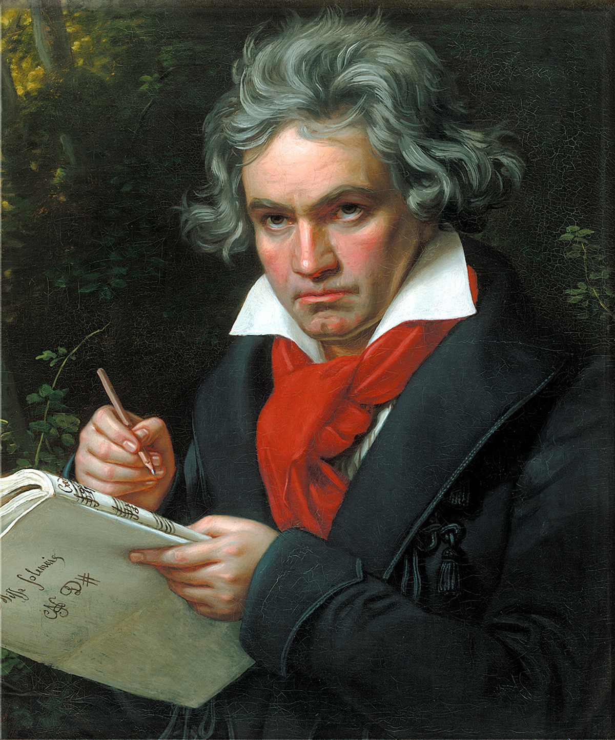 Portrait painting of Beethoven writing out a score of music